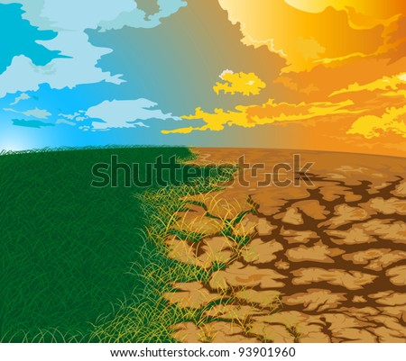 Aridity Changes in nature. To drought - stock vector