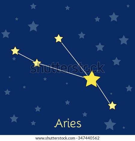 Aries Fire Zodiac  constellation with stars in cosmos. Vector image with navy blue background and stars - stock vector