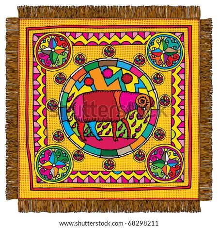 Aries horoscope sign carpet - stock vector