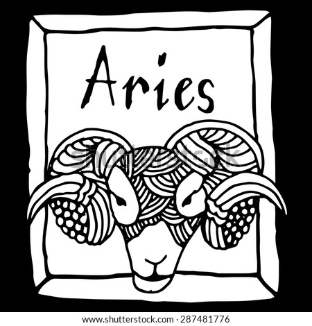 Aries horoscope sign vectorized hand draw - stock vector