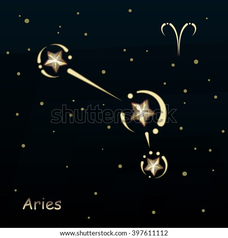 Aries on a dark blue background, surrounded by stars. Constellation connected lines and decor - stock vector