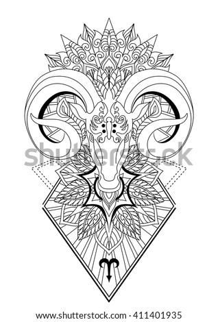 Aries Mandala Tattoo Design Horn Sheep Line Stock Vector HD (Royalty ...