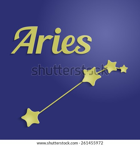 Aries zodiac constellation. Golden stars on blue. - stock vector