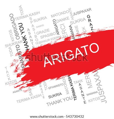 Arigato Word Cloud in Different Languagesof the World.