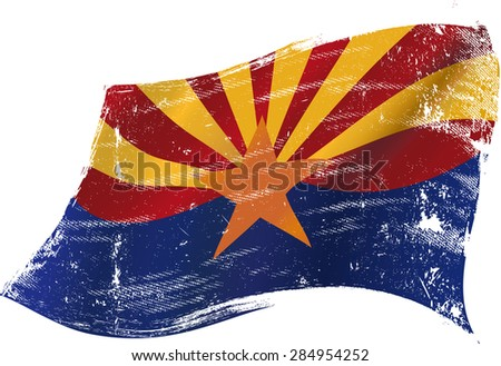 Arizona grunge flag. A flag of Arizona with a grunge texture - stock vector