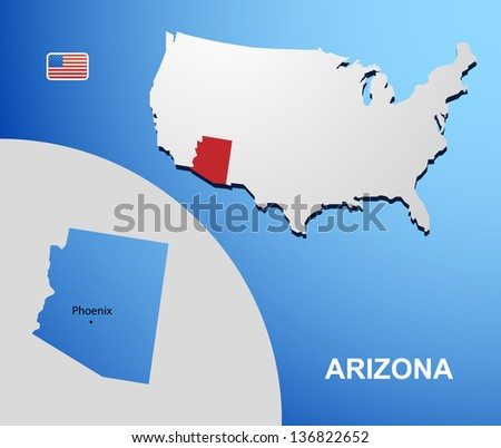 Arizona on USA map with map of the state