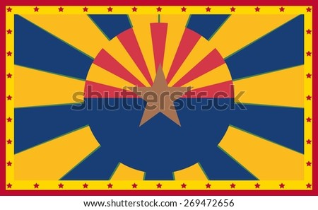 arizona state flag on sun burst banner - stock vector