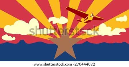 Arizona state flag with old air plane and clouds - stock vector