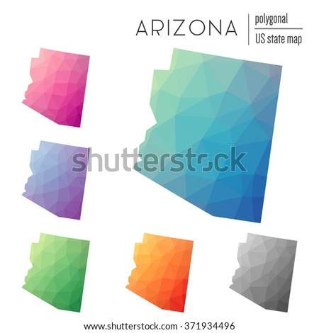 Arizona state map in geometric polygonal style. Set of Arizona state maps filled with abstract mosaic, modern design background. Multicolored state map in low poly style - stock vector
