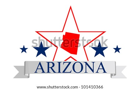Arizona state map, star and name. - stock vector