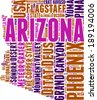 Arizona USA state map tag cloud illustration - stock vector