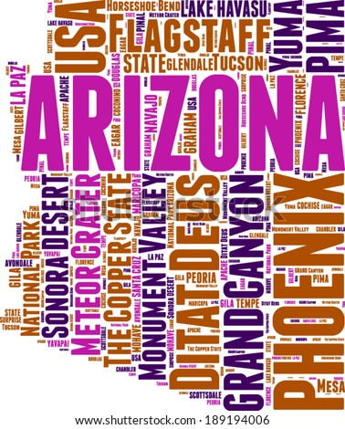 Arizona USA state map tag cloud illustration - stock vector