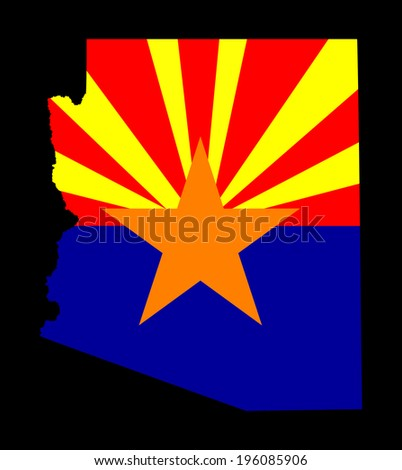 Arizona vector map and vector flag isolated on black background. High detailed illustration.  - stock vector