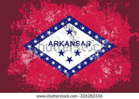 Arkansas grunge,scratch,damaged,old style state flag. - stock vector