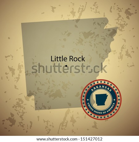 Arkansas map with stamp vintage vector background - stock vector