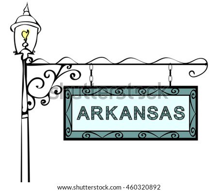 Arkansas retro pointer lamppost.