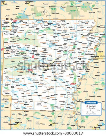 Arkansas State Map Stock Vector Shutterstock - Map of the state of arkansas