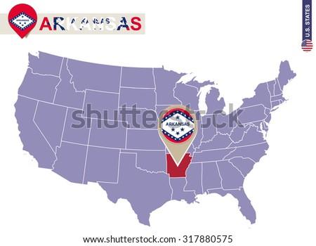 Arkansas State On Usa Map Arkansas Stock Vector 317880575