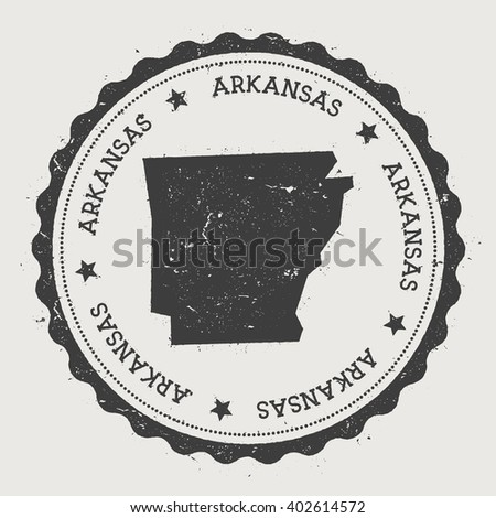 Arkansas Vector Sticker Hipster Round Rubber Stamp With Us State Map Vintage Passport Stamp