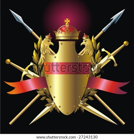 Arm, crown and spears. - stock vector