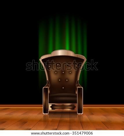 armchair in dark room - stock vector