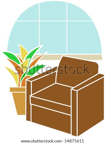 Armchair infront of Bay Window accented by tropical plant - stock vector