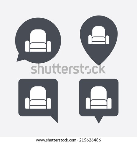 Modern Furniture Icon comfortable sofa sign icon modern couch stock vector 202002847