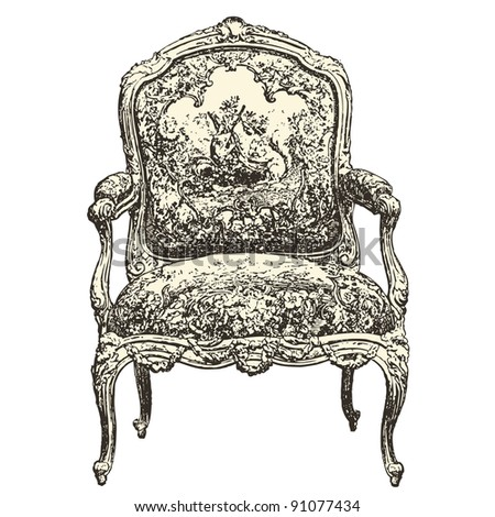 "armchair 18th century style - Vintage engraved illustration - ""Le Mobilier"" Ed.Edouard Rouveyre  in 1915 France"
