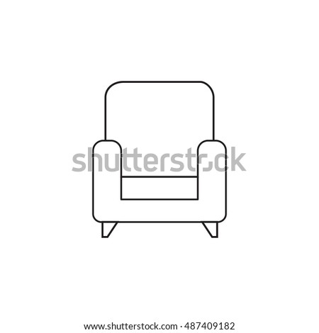 Armchair Thin Line Icon Outline Vector Logo Illustration Linear Pictogram Isolated On White