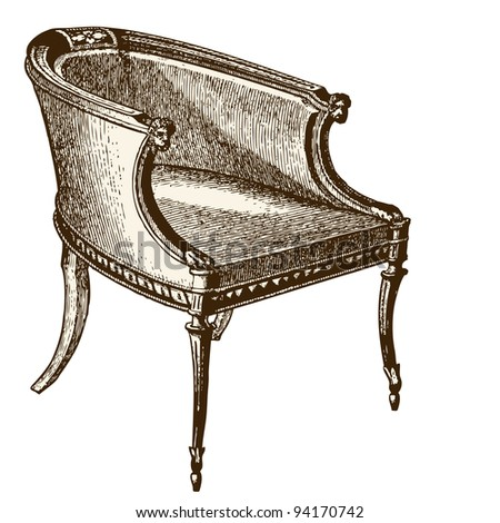 "Armchair - Vintage engraved illustration  - ""Le Mobilier"" Ed.Edouard Rouveyre  in 1915 France"