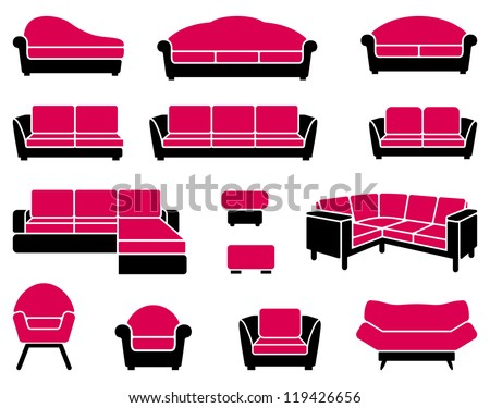 Armchairs and sofas - stock vector
