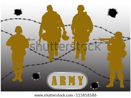 Armed army soldiers against the fence wire