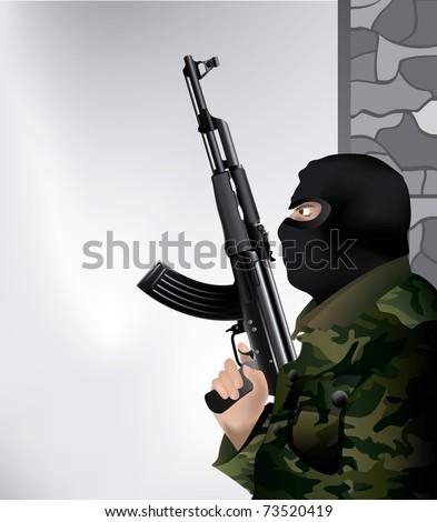 armed soldier illustration - stock vector