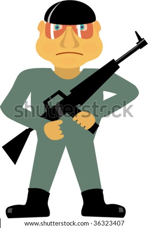 Armed soldier. Isolated Vector illustration.