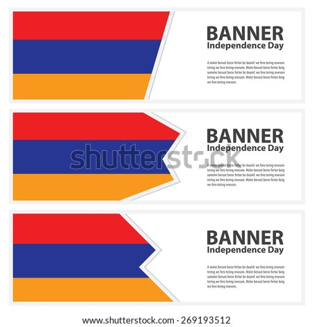 armenia Flag banners collection independence day template backgrounds, infographic - stock vector