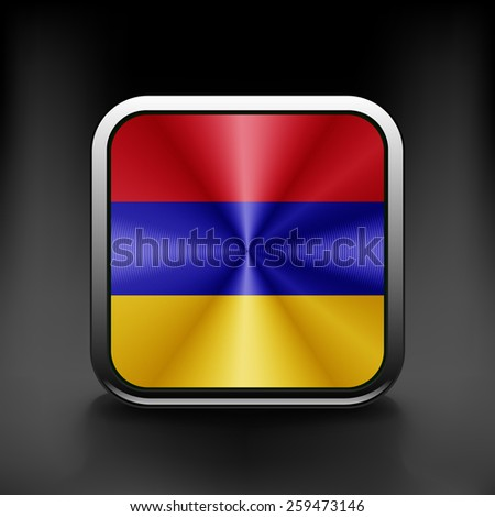 Armenia icon flag national travel icon country symbol button. - stock vector
