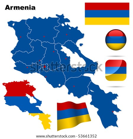 Armenia vector set. Detailed country shape with region borders, flags and icons isolated on white background. - stock vector