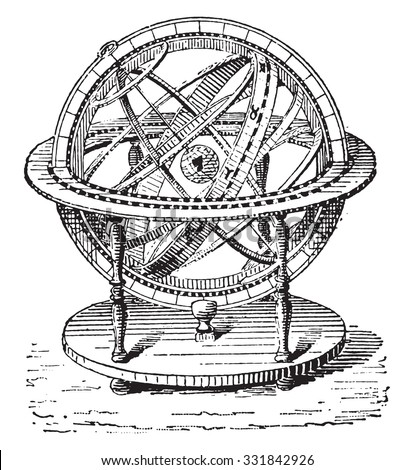 Armillary Sphere, vintage engraved illustration. Dictionary of words and things - Larive and Fleury - 1895. - stock vector