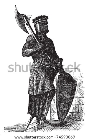 Armor and weapons during the first Crusades era, old engraving. Vector, engraved illustration of Crusade knight, in mail armor, with hauberk, shield and sword. - stock vector