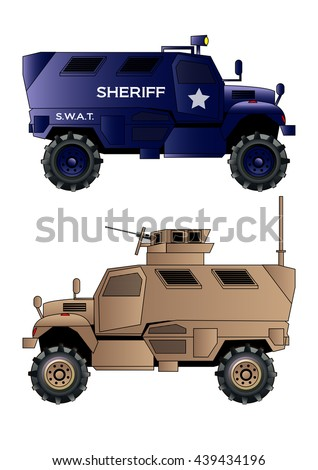 Armored truck vehicle, vector illustration. Police truck vehicle. Isolated on white. Icon. Flat style
