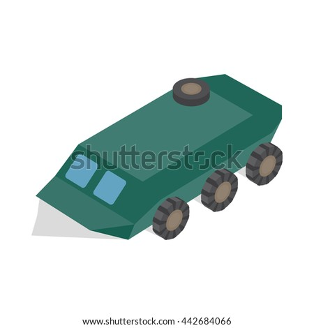 Armoured troop carrier wheeled icon in isometric 3d style on a white background - stock vector