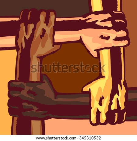 Arms different race and skin color holding and supporting each other, multi-ethnic community, melting pot, teamwork, friendship, cooperation, mutual aid, solidarity concept vector illustration - stock vector