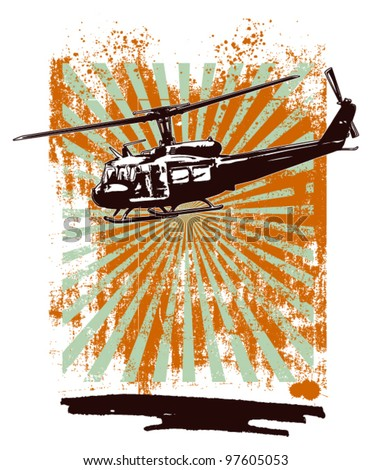 army grunge background with helicopter - stock vector