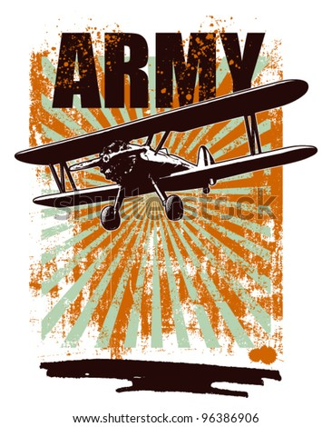 army grunge background with plane - stock vector