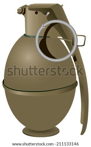 Army hand grenade to destroy enemy personnel. Vector illustration. - stock vector