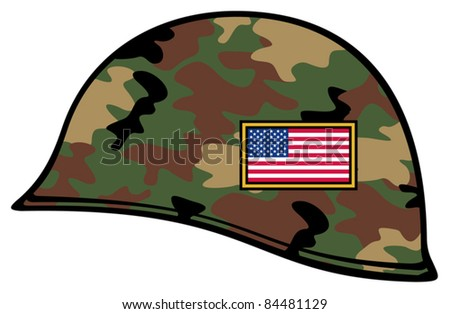 army helmet usa flag (military helmet) - stock vector