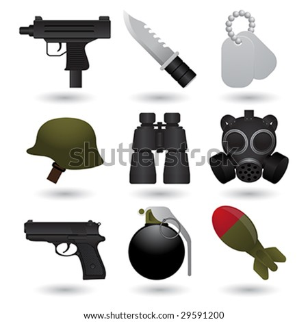 Army icons - stock vector