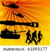 army in the offensive, with air support and tanks; - stock vector