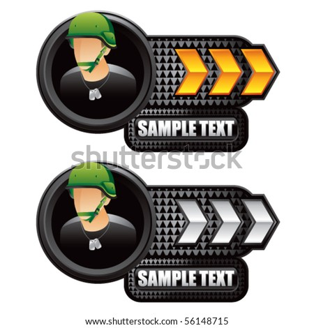 army man on gold and silver arrow nameplates - stock vector