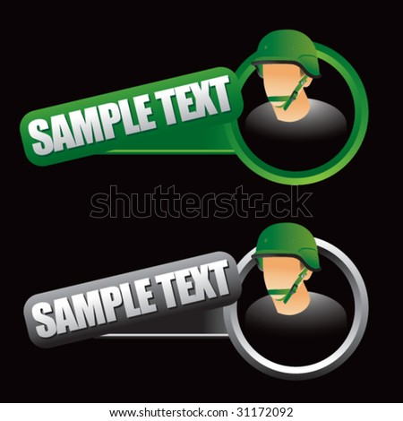 army man on tilted banner - stock vector